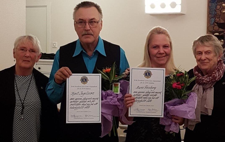 Utdelning av Erik Nordiens och Lions Clubs Jubileumsstipendium